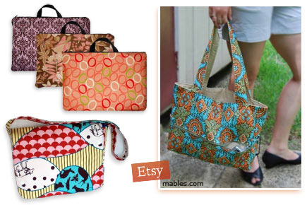 Indie handmade laptop totes on Etsy