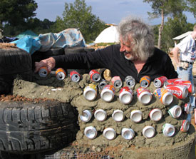 Earthship Can Wall