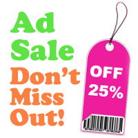 ad sale 25 percent off