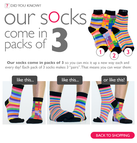 socks in packs of 3